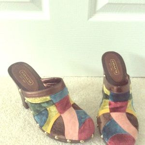 Coach size 8 suede heeled clogs gently used